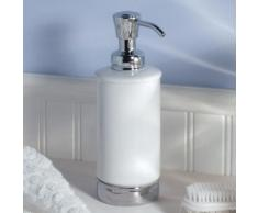 Distributeur de savon en porcelaine blanche cylindrique base inox 295ml YORK