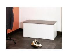 Meuble à chaussures / Banc 15 paires Longueur 89 cm ALDO Blanc / Taupe
