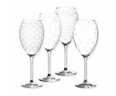 Verre à vin cristallin motif géométrique 55cl - Coffret de 4 assortis STEFAN DIAGRAVURE