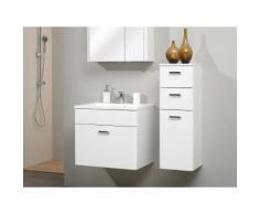 Meuble sous-vasque 1 tiroir avec vasque en marbre NEVILLE Avec armoire + demi-colonne 60 cm