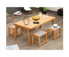 Salon de jardin 4 places : 1 table en eucalyptus + 4 tabourets