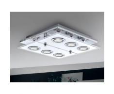 Plafonnier carré LED 6 lumières en métal et verre longueur 34 cm Cisano