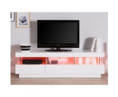 Meuble TV design 3 tiroirs 3 niches avec leds en bois L159.8cm IVY Blanc