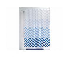 Rideau de douche 100% PEVA motif chevron 183x183cm OMBRE Bleu