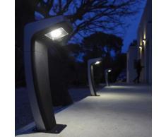 Borne solaire et LED à visser en acier inoxydable et plastique hauteur 54cm 200 lumens Urban