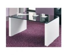 Table basse plateau Verre Longueur 80 x Hauteur 38cm MDF Blanc Noir MARINE