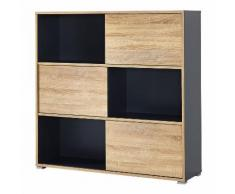 Armoire de bureau avec 3 portes coulissantes L120cm H119cm SLIDE Anthracite/Chêne 119cm