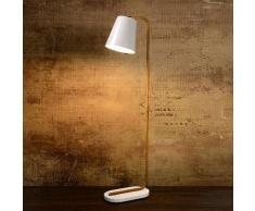 Lampadaire en bois avec abat jour conique en métal blanc hauteur 140cm Cona