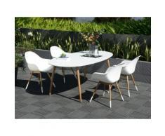 Salon de jardin : 1 table ovale 190cm plateau duranite + 4 fauteuils coque résine injectée et pieds bois St Tropez Blanc