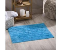 Tapis de bain strié uni 100% coton 810gr/m2 50x70cm JULES Bleu