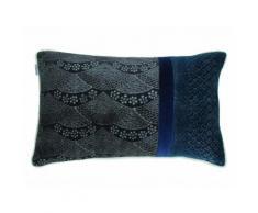 Coussin rectangulaire en velours motif vague japonisant multicolore 30x50cm INEKO