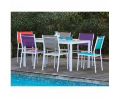 Salon de jardin 6 places : 1 table aluminium et plateau verre + 6 chaises aluminium et polyester enduit SUNNY