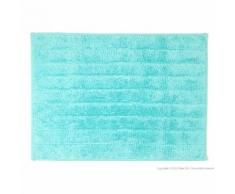 Tapis de bain strié uni 100% coton 810gr/m2 50x70cm JULES Turquoise