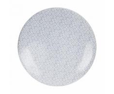 Assiette plate en grès motifs fleurs dessin D.27cm - Lot de 6 SOLEA Gris