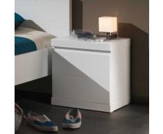 Chevet 1 porte en bois blanc laqué Hauteur 47.5 cm LARA