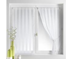 Voilage vitrage à passant rayure tissée 70x130cm + embrasse - lot de 2 BRUNELLE Blanc