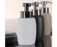 Distributeur de savon liquide uni en polyrésine 8x16.5cm ROCK Blanc