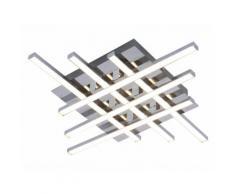Plafonnier carré LED en métal et acrylique brossé longueur 38cm Otok