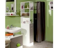 Colonne salle de bain 3 tiroirs 1 miroir L24.5xP54xH181.50cm BANIO Blanc / Taupe