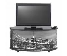 Meuble TV bas en bois avec 2 rideaux coulissants L110.5cm caisson noir PRINT New York