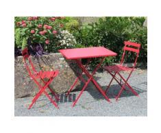 Salon de jardin pliant 2 places en acier : table carrée 60x60cm + 2 chaises POP Rouge