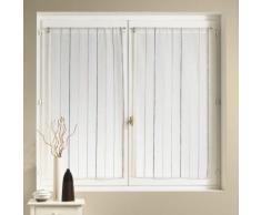 Voilage vitrage à passant polyester rayure verticale ivoire - lot de 2 NARCISSE 70x90cm