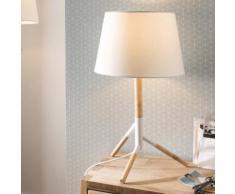 Lampe à poser trépied en bois et tissu blanc hauteur 55cm diamètre 30cm FORREST