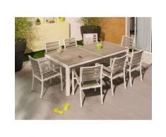 Salon de jardin 8 places en aluminium et composite : 1 table 212.5x103 cm + 8 fauteuils LAMIA Blanc/Gris clair