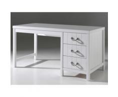 Bureau enfant 3 tiroirs en bois blanc laqué Longueur 150 cm LEWIS