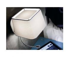 Applique avec liseuse LED en métal et abat jour carré en tissu hauteur 45cm Sweet Blanc