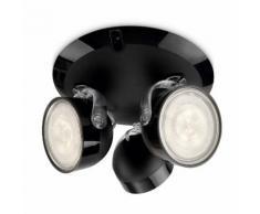 Plafonnier rond 3 spots LED orientables diamètre 19.5cm Dyna Noir