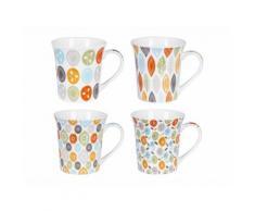 Mug en porcelaine 35cl coloris et motifs assortis - Coffret de 4 pièces JAIPUR