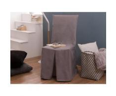 Housse de chaise bachette 100% coton INES Gris clair