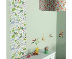 Lé de papier peint décoratif intissé animaux forêt vert/bleu 48x280cm GASPARD