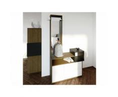 Meuble d'entrée en bois effet noyer 3 portes avec miroir L 100cm KUBE