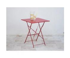 Table carrée pliante en acier 60x60cm POP Rouge