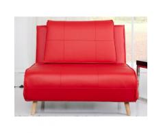 Banquette convertible simili 1 place + pieds bois style futon AYAKO Rouge