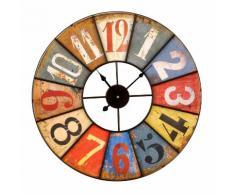 Horloge murale en métal multicolore viellie D.58cm ANTIK