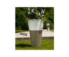 Pot de fleur rond bicolore en polypropylène D50 cm TOKYO Taupe/Blanc