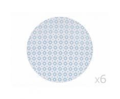 Assiette à dessert en grès D.21cm motif ethnique bleu / gris - Lot de 6 pièces SINTRA