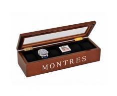 Boite de rangement en bois pour montre 34x12cm STORY Teinté/Chrome