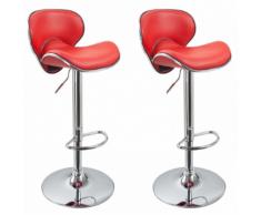 Lot de 2 Tabourets de bar design simili cuir avec dossier rouge