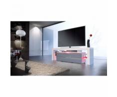 Meuble tv design blanc et gris avec led 163 cm