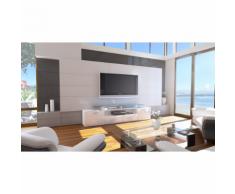 Meuble tv design blanc façade laquée corps mat sans led 194 cm