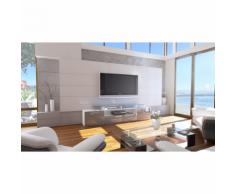 Meuble tv design blanc mat et gris laqué avec led 194 cm