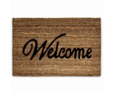 Paillasson tapis porte d'entrée essuie-pieds fibre de coco marron