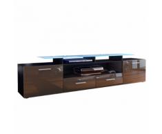 Meuble tv design noir mat et chocolat laqué avec led 194 cm