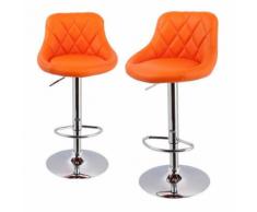 Lot de 2 Tabourets de bar design simili cuir avec dossier orange