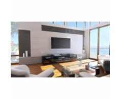 Meuble tv design noir mat avec led 194 cm
