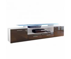 Meuble tv design blanc mat et chocolat laqué avec led 194 cm